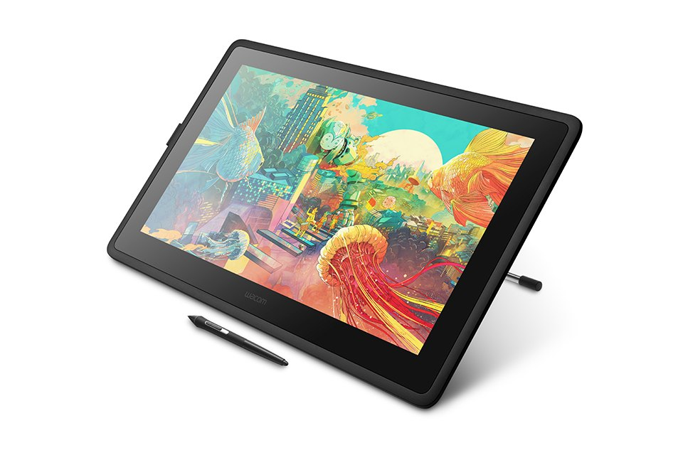 Wacom Cintiq 22 elevated angle from the right with pen